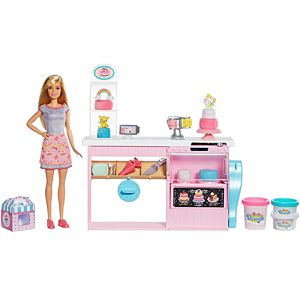 Barbie® Cake Decorating Playset with Blonde Doll, Baking Island, Molding Dough & More