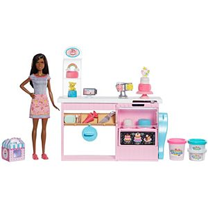 Barbie® Cake Decorating Playset with Brunette Doll, Baking Island, Molding Dough & More
