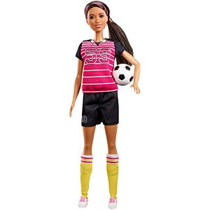 Barbie® Athlete Doll, Brunette, Wearing Uniform and Socks with Soccer Ball