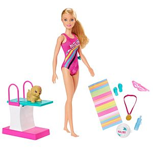Barbie™ Dreamhouse Adventures Swim 'n Dive™ Doll, 11.5-inch in Swimwear, with Diving Board and Puppy