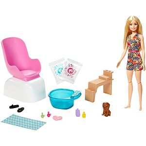 Barbie® Mani-Pedi Spa Playset, Blonde Barbie® Doll, Puppy, Fizzy Packs & Color-Change