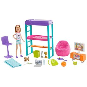 Barbie® Team Stacie™ Bedroom Playset with Doll & Puppy for 3 to 7 Year Olds