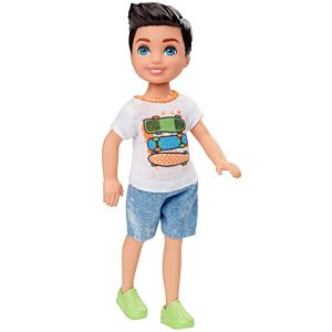 Barbie® Club Chelsea™ Boy Doll (6-inch Brunette) with Skateboard Shirt and Shorts