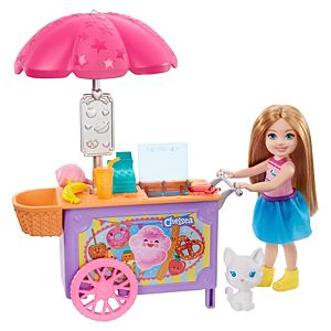 Barbie® Club Chelsea™ Doll and Snack Cart Playset, 6-in Blonde with Pet and Accessories