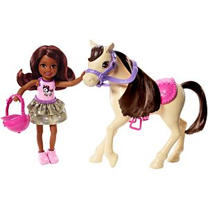 Barbie® Club Chelsea™ Doll and Horse, 6-inch Brunette, Wearing Fashion and Accessories