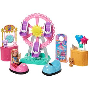Barbie® Club Chelsea™ Doll and Carnival Playset, 6-inch Blonde Wearing Fashion and Accessories, with Ferris Wheel, Bumper Cars, Puppy and More