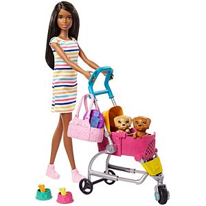 Barbie® Stroll 'n Play Pups™ Playset with Barbie® Doll, 2 Puppies and Pet Stroller