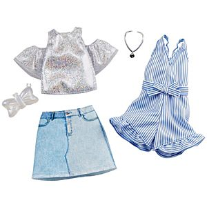 ​Barbie® Fashion Pack - Sparkly Shirt, Skirt and Romper with Bow-Shaped Purse and Necklace