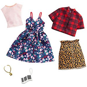 ​Barbie® Fashion Pack - Floral Dress, Striped T-Shirt, Animal-Print Skirt, Plaid Top, Piano Key Purse and Necklace