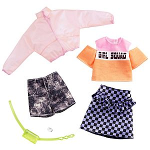 ​Barbie® Fashion Pack - Jacket, 'Girl Squad' Top, Checked Skirt, Denim Shorts, Fanny Pack and Watch