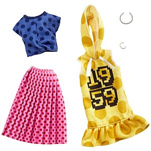 ​Barbie® Fashion Pack - Polka Dots on a Yellow Hoodie Dress, a Blue Top and Pink Skirt, Plus 2 Accessories
