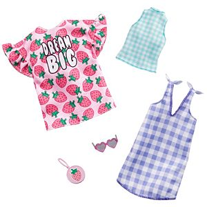 ​Barbie® Fashion Pack - Strawberry-Print Dress, a Checked Dress and Top, Plus a Strawberry-Decorated Purse and Heart-Shaped Sunglasses