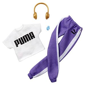 ​​Barbie® Clothes: PUMA® Branded Outfit for Barbie® Doll, White Top and Purple Joggers with Headphones and Watch