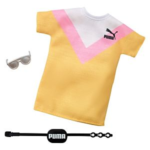 ​​Barbie® Clothes: PUMA® Branded Outfit for Barbie® Doll, Striped T-Shirt Dress with Fanny Pack and Sunglasses
