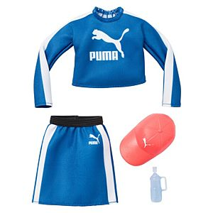 ​​Barbie® Clothes: PUMA® Branded Outfit for Barbie® Doll, Sport Top and Skirt with Cap and Water Bottle