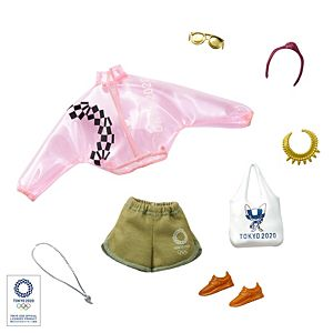 Barbie® Storytelling Fashion Pack of Doll Clothes Inspired by the Olympic Games Tokyo 2020: Pink Transparent Jacket, Shorts and 6 Accessories for Barbie® Dolls