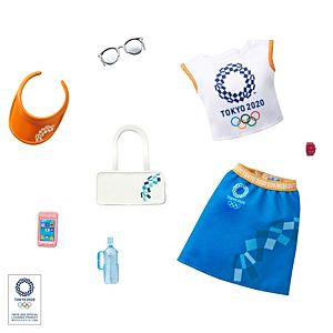 Barbie® Storytelling Fashion Pack of Doll Clothes Inspired by the Olympic Games Tokyo 2020: Top, Skirt and 6 Accessories for Barbie® Dolls