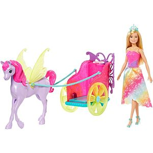 Barbie™ Dreamtopia Princess Doll, 11.5-in Blonde, with Fantasy Horse and Chariot