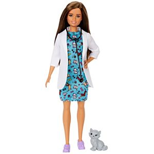 Barbie® Pet Vet Brunette Doll with Medical Coat, Dress and Kitty Patient