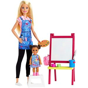 ​Barbie® Art Teacher Playset with Blonde Doll, Toddler Doll, Easel and Accessories