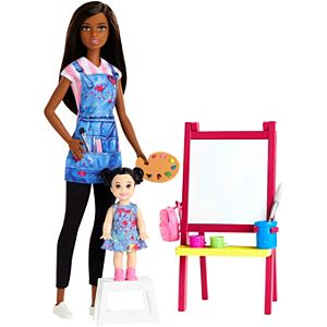 Barbie® Art Teacher Playset with Brunette Doll, Toddler Doll, Toy Art Pieces