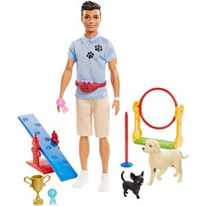 ​Ken™ Dog Trainer Playset with Doll, 2 Dog Figures, Hoop Ring, Balance Bar, Jumping Bar, Trophy and 2 Winner Ribbon