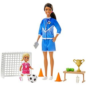 ​Barbie® Soccer Coach Playset with Brunette Soccer Coach Doll, Student Doll and Accessories