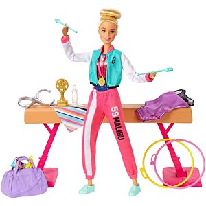 ​Barbie® Gymnastics Doll and Playset with Twirling Feature, Balance Beam, 15+ Accessories