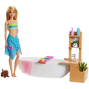 Barbie® Fizzy Bath Doll & Playset, Blonde, with Tub, Puppy & More