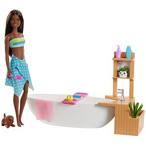 Barbie® Fizzy Bath Doll and Playset, Brunette, with Tub, Puppy & More