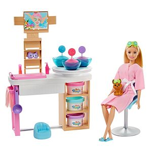 Barbie® Face Mask Spa Day Playset, Blonde Barbie® Doll, Puppy, Molding Toy & Dough
