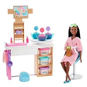Barbie® Face Mask Spa Day Playset, Brunette Barbie® Doll, Puppy, Molding Toy & Dough