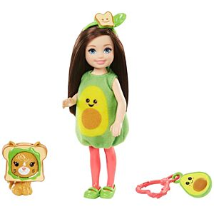 Barbie® Club Chelsea™ Dress-Up Doll in Avocado Costume, 6-inch Brunette, with Pet Kitten and Accessories