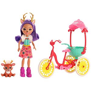 Enchantimals™ Bike Buddies™ Bicycle Playset (11-in) with Danessa Deer™ doll (6-in) and Sprint™ Animal Figure