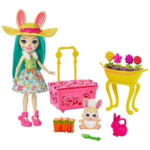 Enchantimals™ Bunny Blooms™ Playset with Fluffy Bunny™ Doll (6-in), Mop™ Animal Friend Figure, and 11+ Accessories