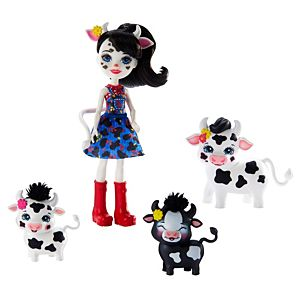 Enchantimals™ Family Toy Set, Cambrie Cow Doll (6-inch) with Ricotta™ Cow and 2 Baby Cow Figures