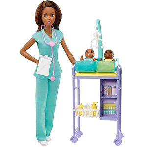 ​Barbie® Baby Doctor Playset with Brunette Doll, 2 Infant Dolls, Exam Table and Accessories