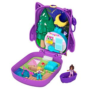 Polly Pocket™ Pocket World Owlnite™ Campsite Compact, 2 Micro Dolls, Accessories
