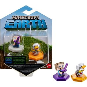 Minecraft Earth Boost Minis Attacking Steve & Spawning Chicken Figure 2-Pack, NFC Chip Enabled for Earth Augmented Reality Game