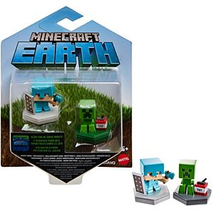 Minecraft Earth Boost Minis Defending Alex & Mining Creeper Figure 2-Pack, NFC Chip Enabled for Earth Augmented Reality Game