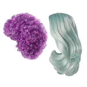 Creatable World™ 2-Pack Wig Set, Ice Blue Wavy Hair and Purple Curly Hair