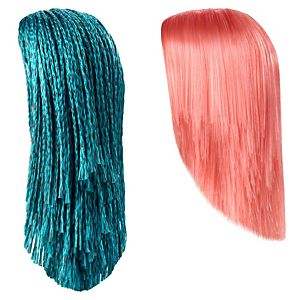 Creatable World™ 2-Pack Wig Set, Coral-Pink Straight Hair and Teal Braided Hair