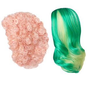 Creatable World™ 2-Pack Wig Set, Green Hair with Yellow Highlights and Pink Curly Hairstyles