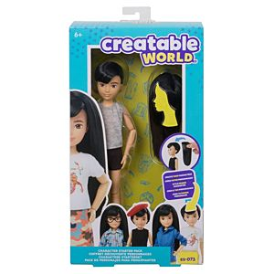 Creatable World™ Character Starter Pack, Black-Hair Doll with Brown Eyes, Includes Wig