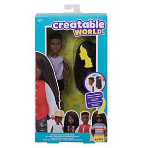 Creatable World™ Character Starter Pack, Black Braided Hair Doll with Brown Eyes, Includes Wig