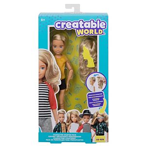Creatable World™ Character Starter Pack, Wavy Blonde Doll with Blue Eyes, Includes Wig