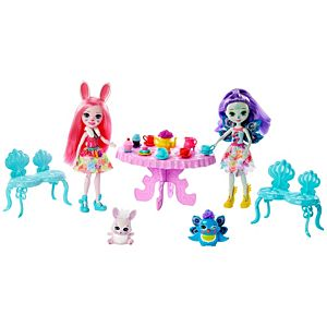 Enchantimals™ Tasty Tea Party Playset with Bree Bunny™ & Patter Peacock™ Dolls (6-inch) with Animal Friend Figures, 15+ Accessories