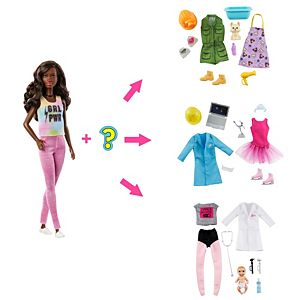 ​Barbie® Surprise Doll, Brunette with 2 Career Looks and Accessories