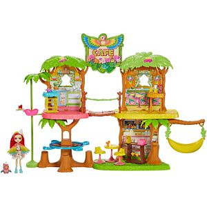 Enchantimals Junglewood™ Café Playset with Peeki Parrot™  Doll and 15+ Removable Accessories