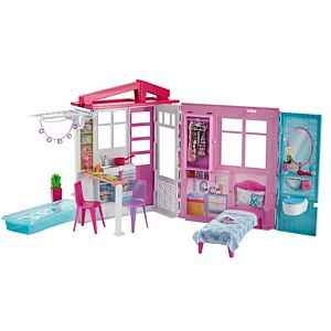 ​Barbie® Dollhouse, Portable 1-Story Playset with Pool and Accessories